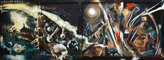 Medusa - Lucio Forte - Acrilico, olio, smalto, gessetti, bitume su tavola