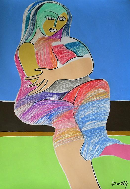 Donna seduta - Gabriele Donelli - Pastello e acrilico - 400 €