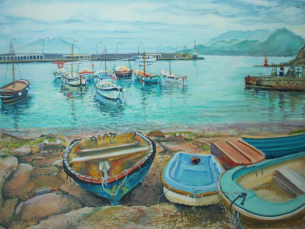 Una vecchia barca, isola Capri  - Ruzanna Scaglione Khalatyan - Acrilico