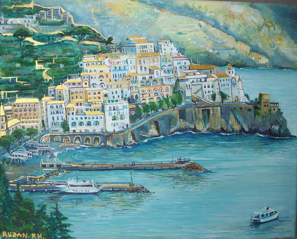 Amalfi, Paesaggio marino - Ruzanna Scaglione Khalatyan - Acrilico