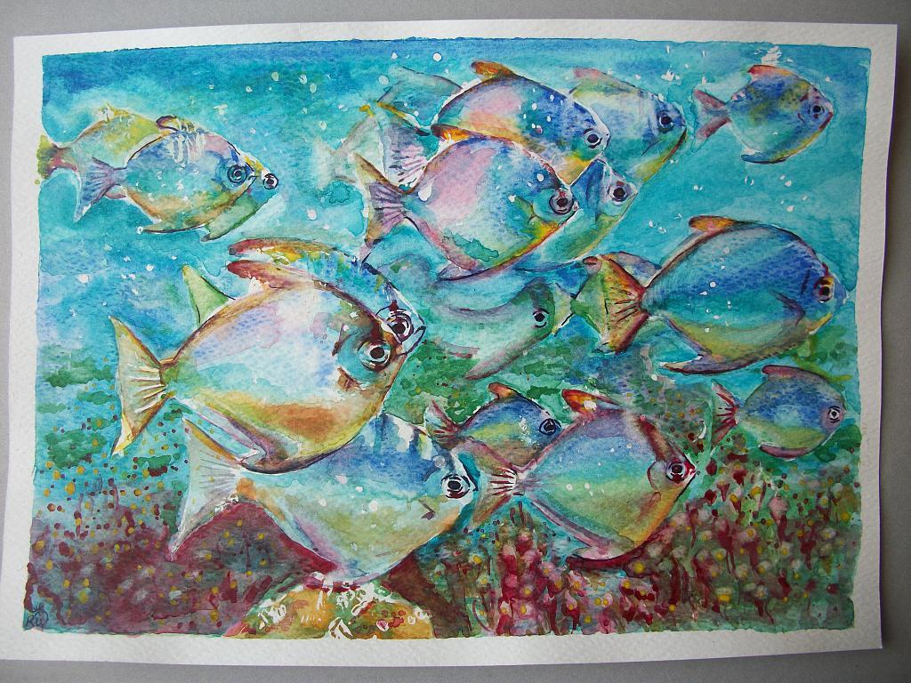 Branco dei pesci - Ruzanna Scaglione Khalatyan - Acquerello