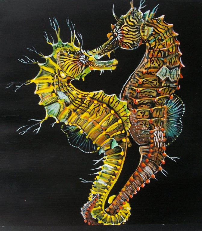 Pesci Ippocampi (cavallucci marini)  - Ruzanna Scaglione Khalatyan - Tempera - 60 €