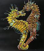 Pesci Ippocampi (cavallucci marini)  - Ruzanna Scaglione Khalatyan - Tempera - 60€