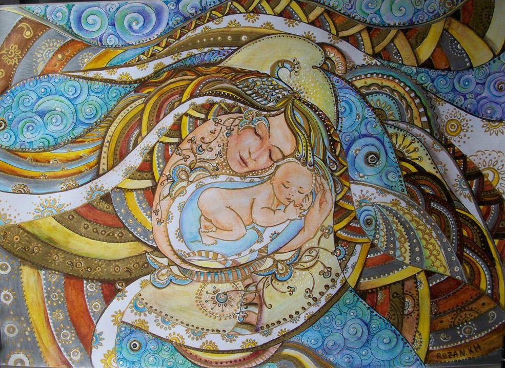 Il mio pesciolino, donna con bambino - Ruzanna Scaglione Khalatyan - matite acquerelabbili, colori acrilici