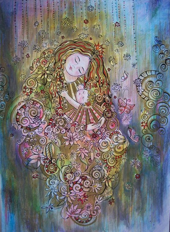 Madre con bimba - Ruzanna Scaglione Khalatyan - Pastelli - 60 €