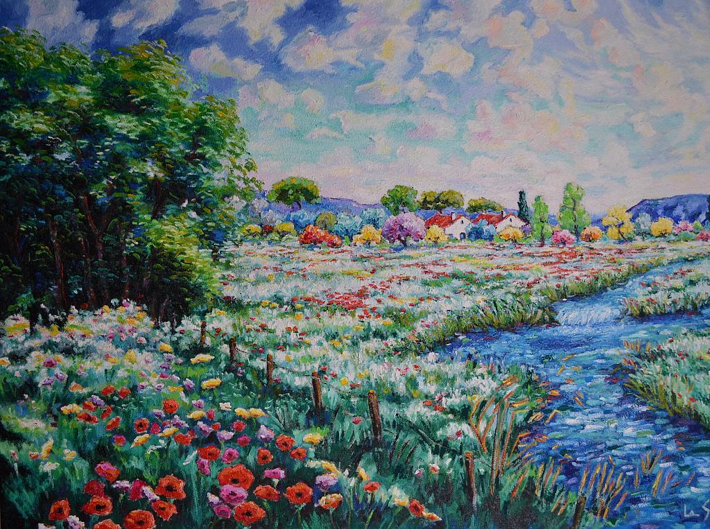 Paesaggio primaverile vendita quadro pittura artlynow for Foto di alberi da colorare