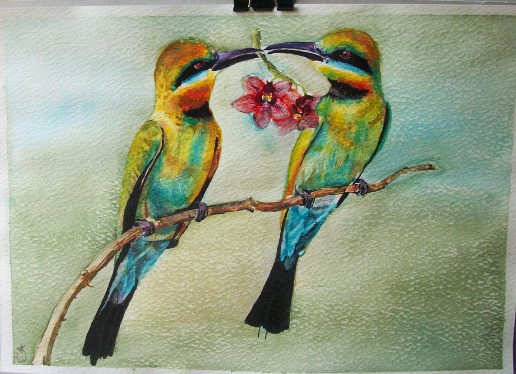 Gli uccelli del paradiso  - Ruzanna Scaglione Khalatyan - Acquerello - 50 €