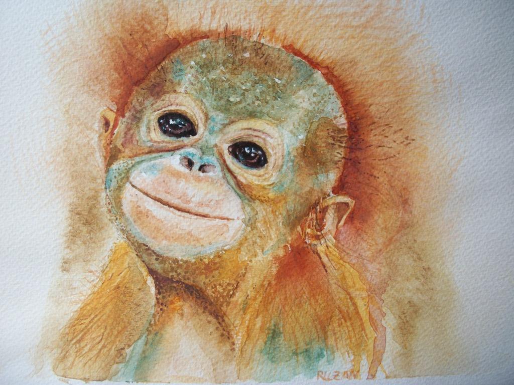 cucciolo orango, scimmia  - Ruzanna Scaglione Khalatyan - Acquerello - 55 €