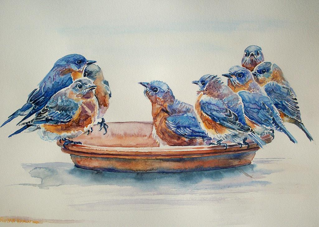 Uccelli Blu - Ruzanna Scaglione Khalatyan - Acquerello