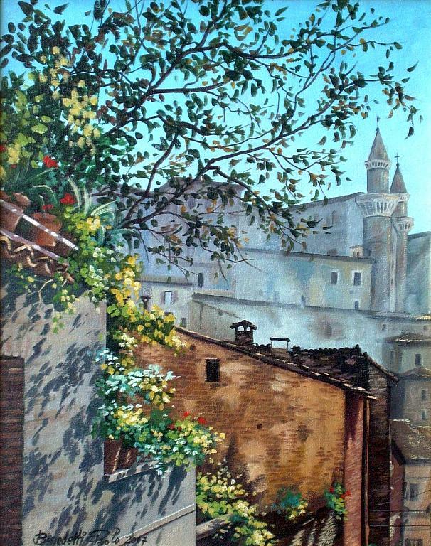 Urbino nelle prime ore del mattino. - Paolo Benedetti - Acrilico -  €