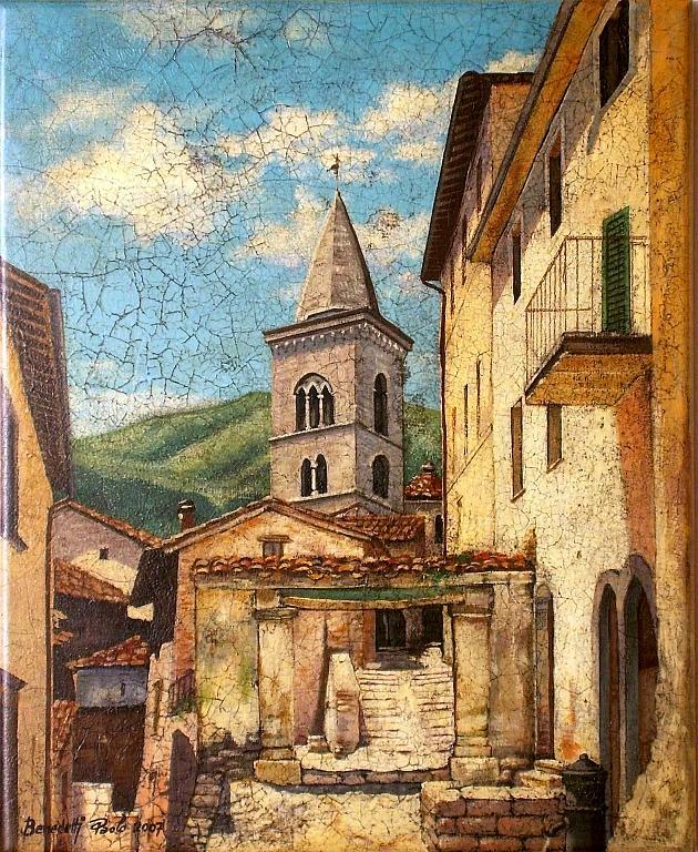VISSO - Marche- Centro storico col campanile di S. Maria - Paolo Benedetti - Acrilico - 250 €