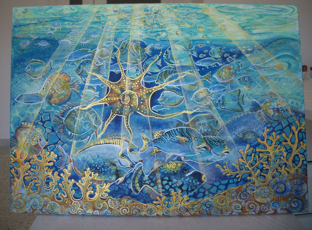 Pesci nel mare, la vita sottomarina - Ruzanna Scaglione Khalatyan - Acrilico