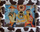 scambio del segno della pace tra etnie - franco scacchi - Tempera - 250€
