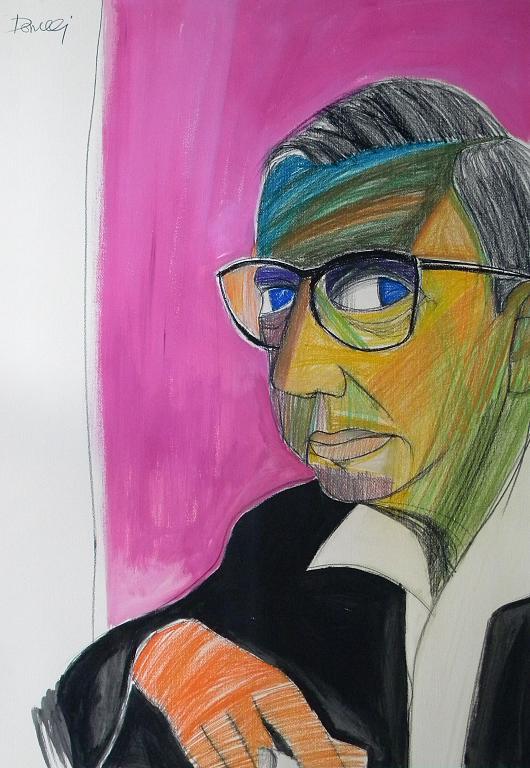 Ritratto di Jean Paul Sartre - Gabriele Donelli - Pastelli e acrilico - 400 €