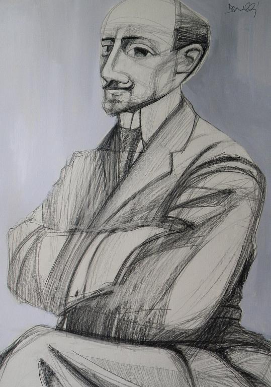 Ritratto di Gabriele D'Annunzio - Gabriele Donelli - Matita e acrilico - 700 €