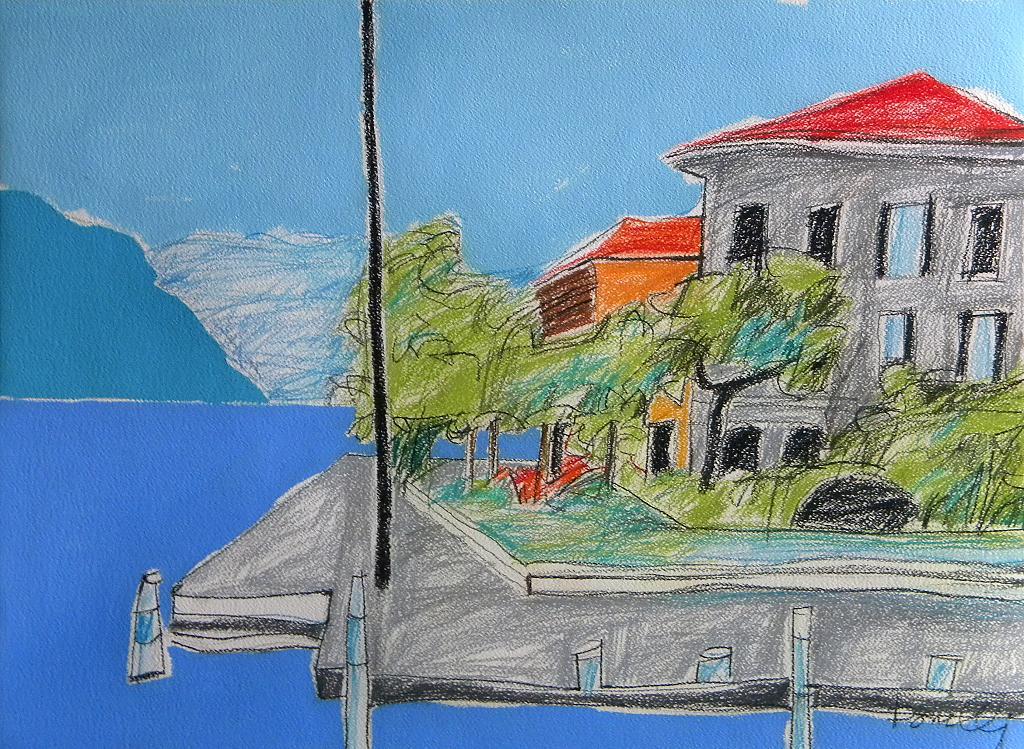 Veduta sul lago d'Iseo - Gabriele Donelli - Pastello e acrilico - 300 €