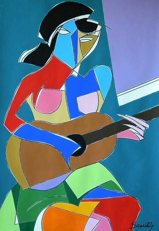 Ragazza con la chitarra - Gabriele Donelli - Acrilico - 800 €