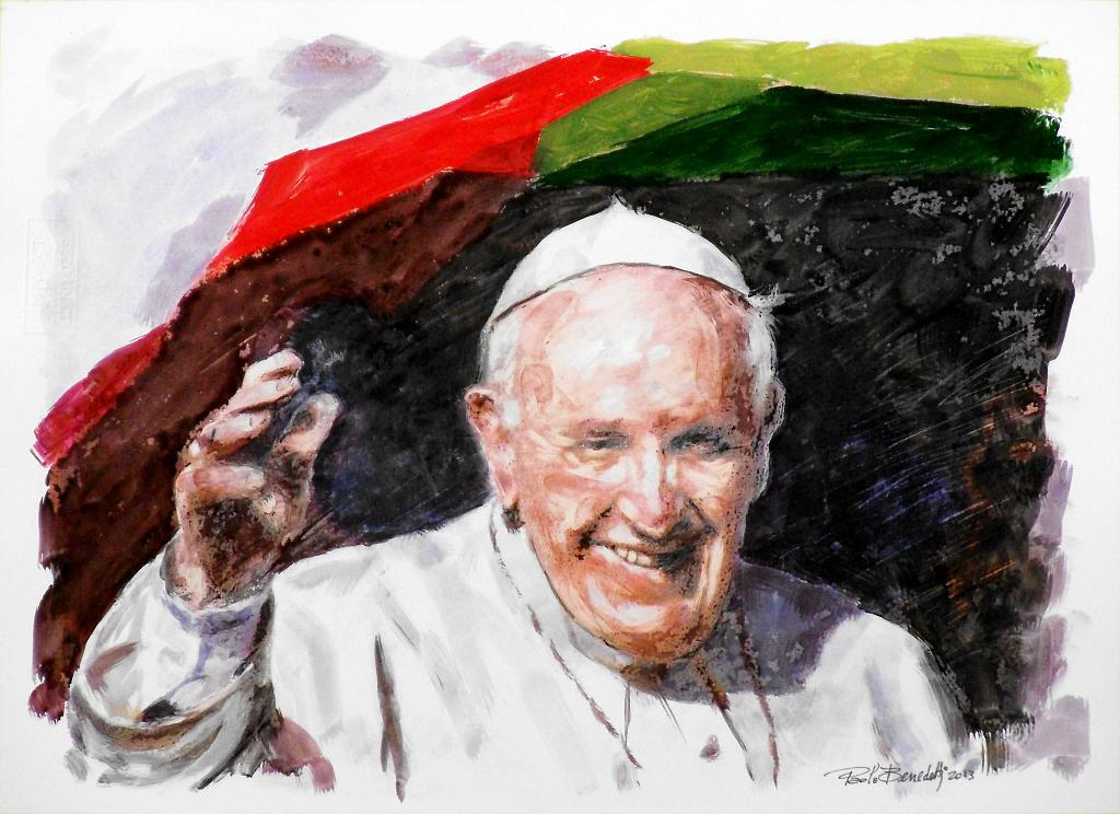 Papa Francesco 10 - Paolo Benedetti - Acrilico - 100 €
