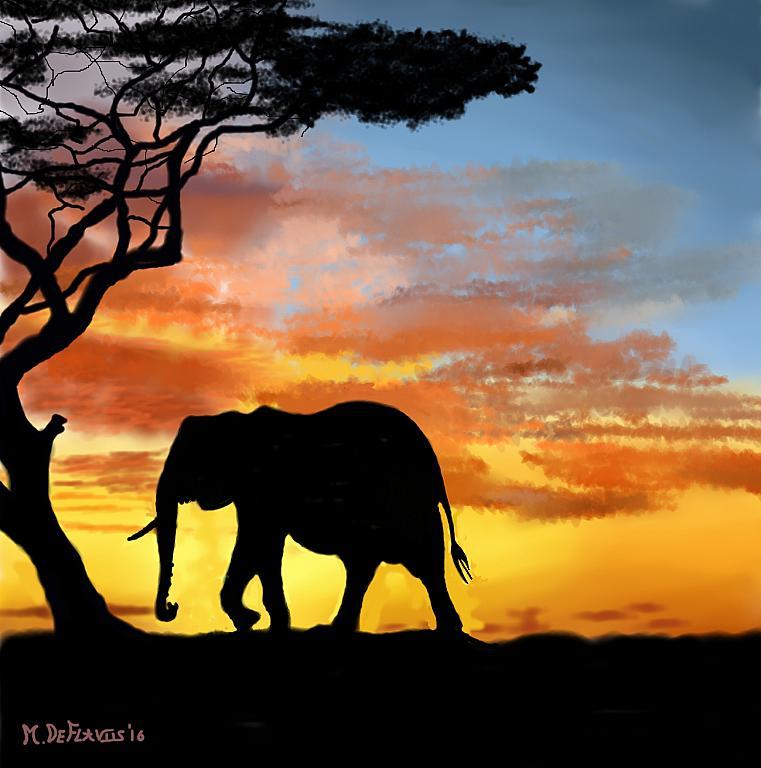 Elefante della savana - Michele De Flaviis - Digital Art