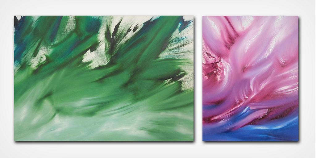 Il concetto e l'espressione dittico n 2 quadri - Davide De Palma - Olio - 300 €