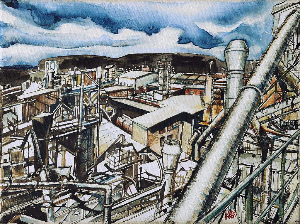 Industria Chimica - Lucio Forte - Acrilico, acquerello, olio, china su tela - 250 €