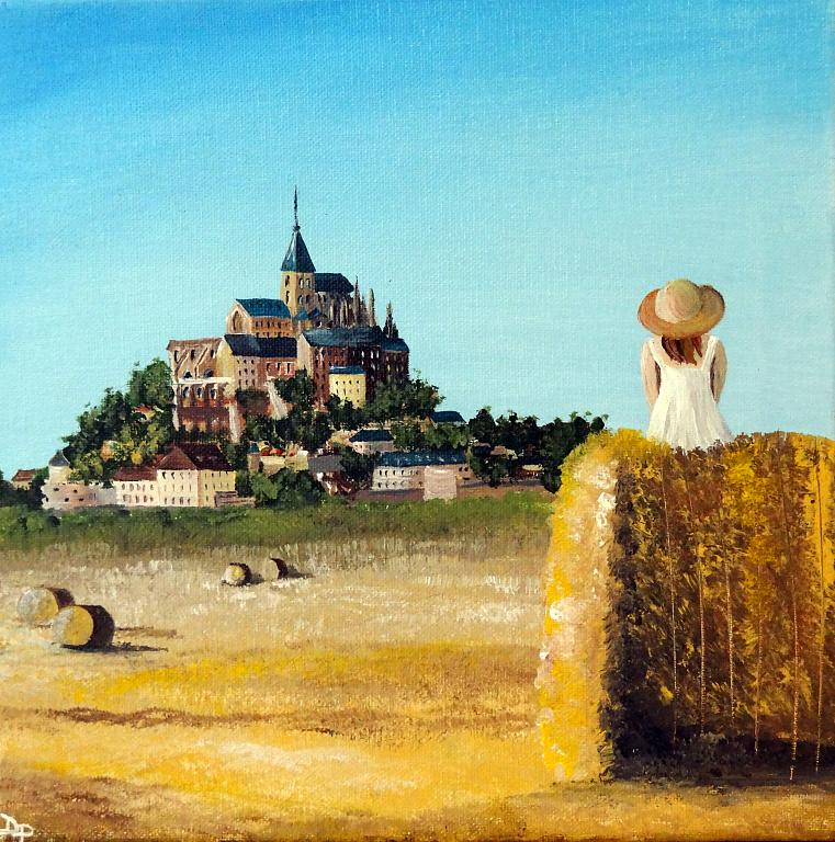 Lady with a view - Mont Saint Michel - Daniela Pasqualini - Acrilico
