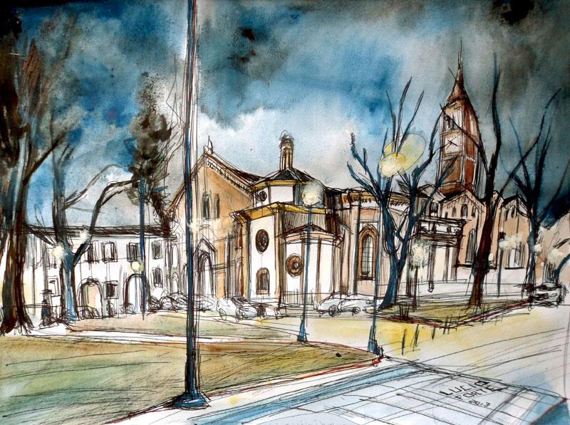 Sant'Eustorgio - Lucio Forte - acquerello, tempera su carta