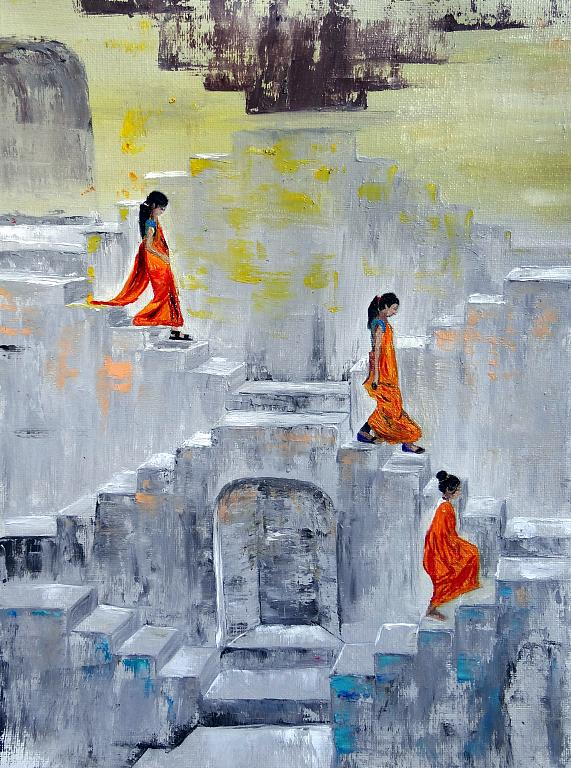 Bangladesh women - Daniela Pasqualini - Olio - 125 €
