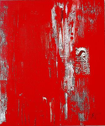 Red fade out-1 - GIOVANNI GRECO - vernice, stucco, collage - 350 €