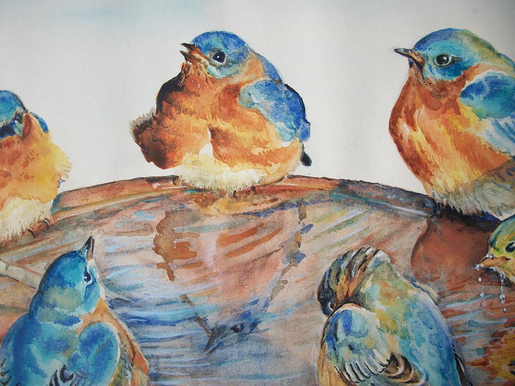 uccelli  - Ruzanna Scaglione Khalatyan - Acquerello - 110 €