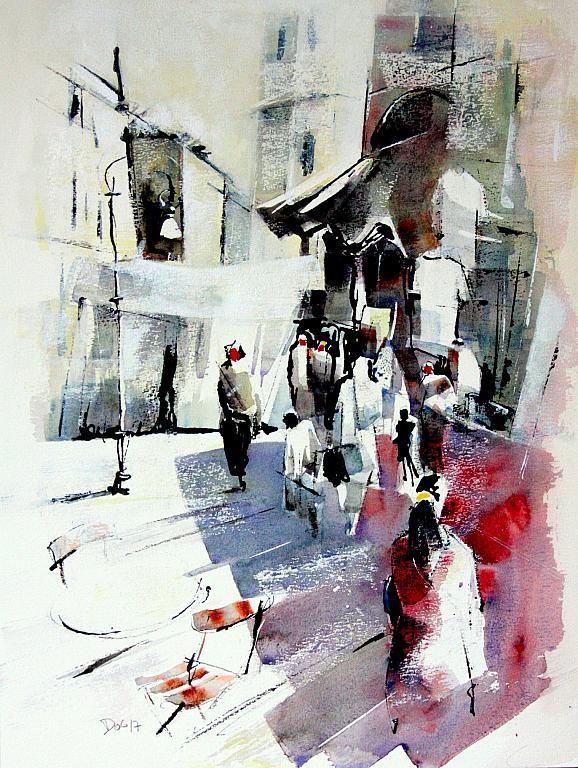 Mercato - Guido Ferrari - acquerello e inchiostro - 450 €