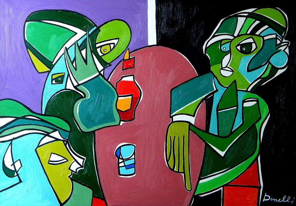 Tre marziani in supposizione - Gabriele Donelli - Olio - 1200 €
