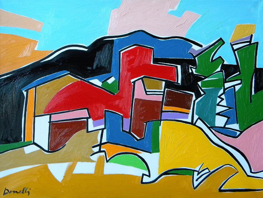 Case in collina - Gabriele Donelli - Olio - 1200 €