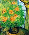 Magici fiori arancioni  - mario fanconi - Olio