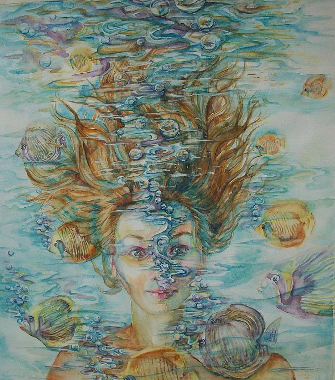 Un Sogno, Surreale ritratto di donna sotto acqua - Ruzanna Scaglione Khalatyan - Acquerello