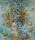 A Dream, Surreal woman portrait under water - Ruzanna Scaglione Khalatyan - Watercolor