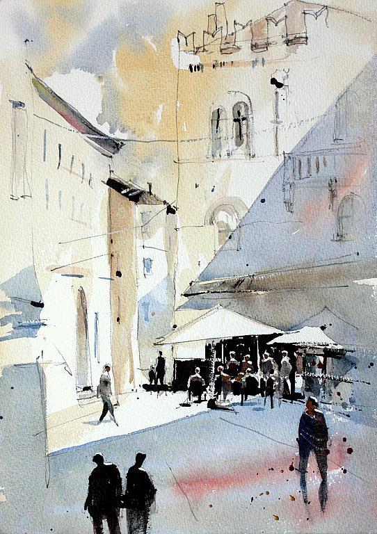Piazza del Monte - Guido Ferrari - Acquerello - 350 €