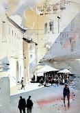 Piazza del Monte - Guido Ferrari - Acquerello - 350€