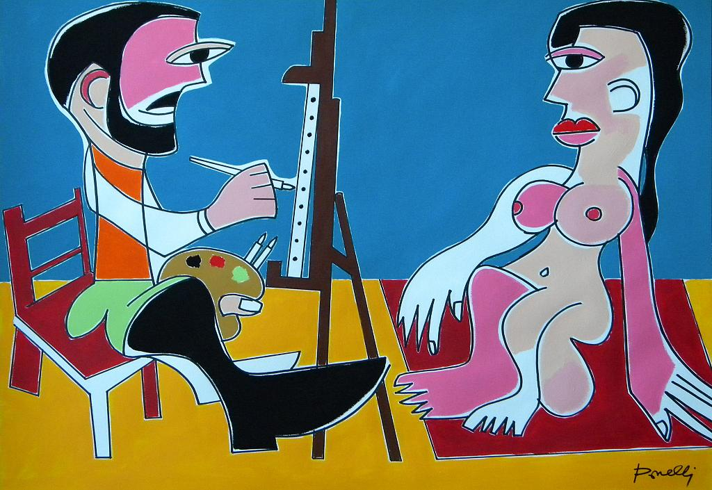 Le peintre et son modèle - Gabriele Donelli - Acrilico - 1100 €