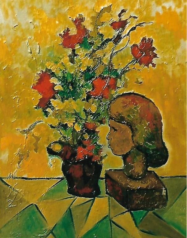 vaso di fiori con volto in terracotta - mario fanconi - Olio