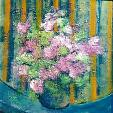 vaso di fiori rosa - mario fanconi - Olio
