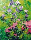 fiori rosa e viola - mario fanconi - Olio