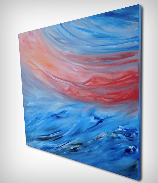 Red sunset on the sea, spedizione gratuita - Davide De Palma - Olio - 300 €
