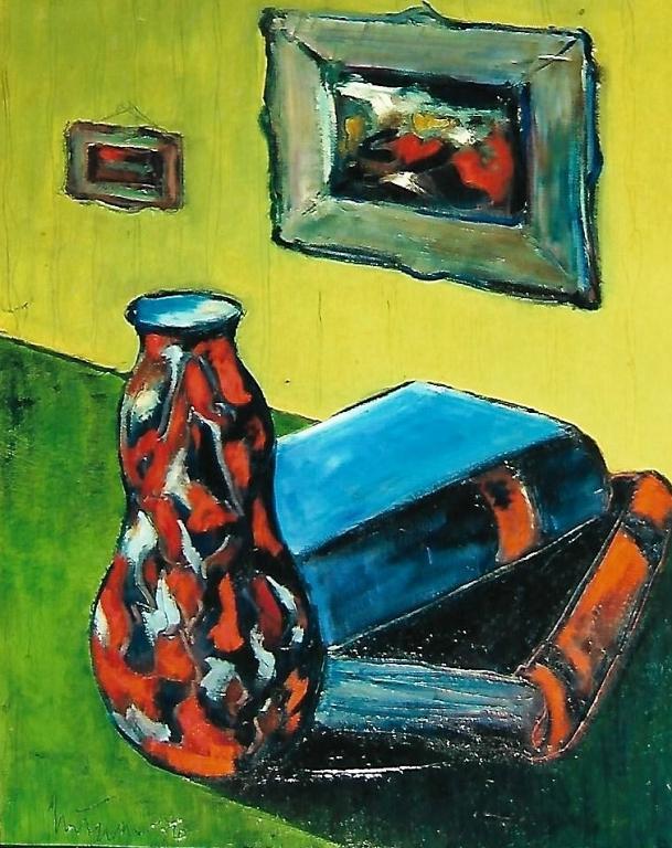 Vaso e libri - mario fanconi - Olio