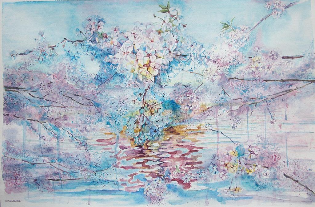 fiori di ciliegio - Ruzanna Scaglione Khalatyan - Acquerello