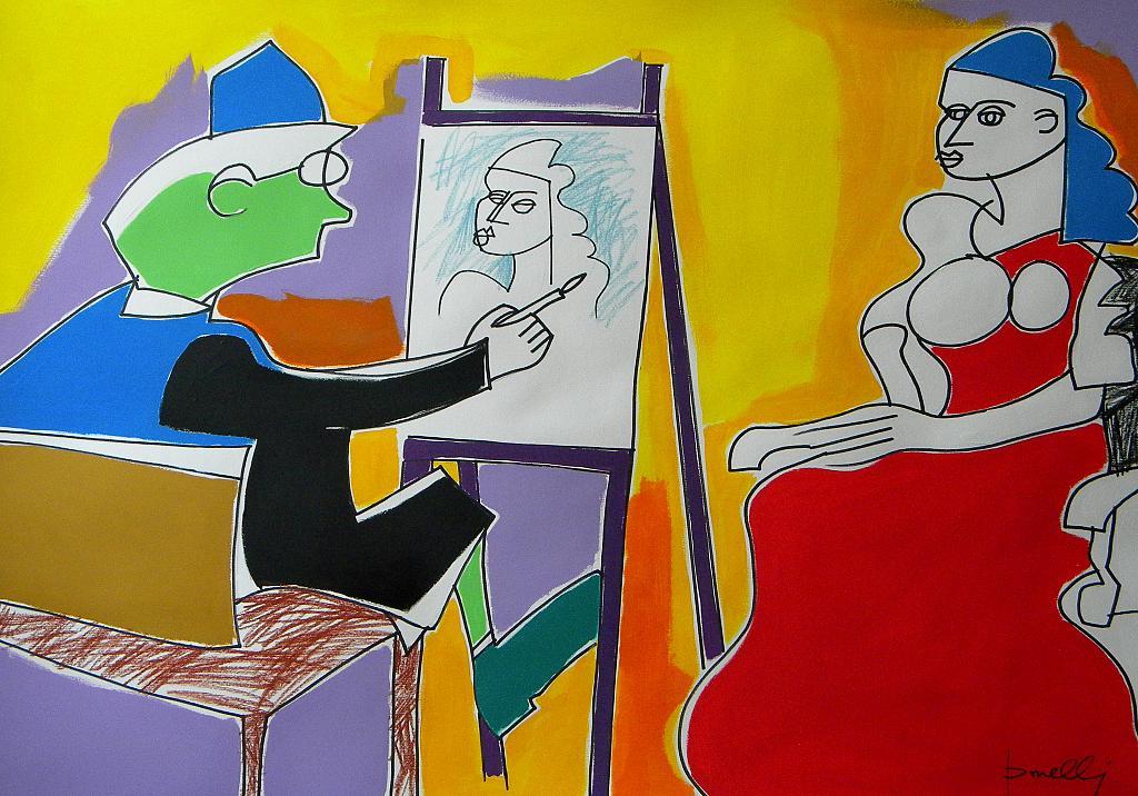 Le peintre et son modèle - Gabriele Donelli - Pastelli e acrilico - 300 €