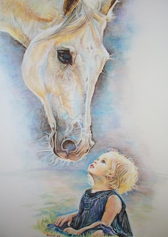 Bambina e cavallo  - Ruzanna Scaglione Khalatyan - Pastelli