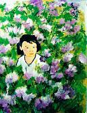 bimba tra i fiori - mario fanconi - Olio