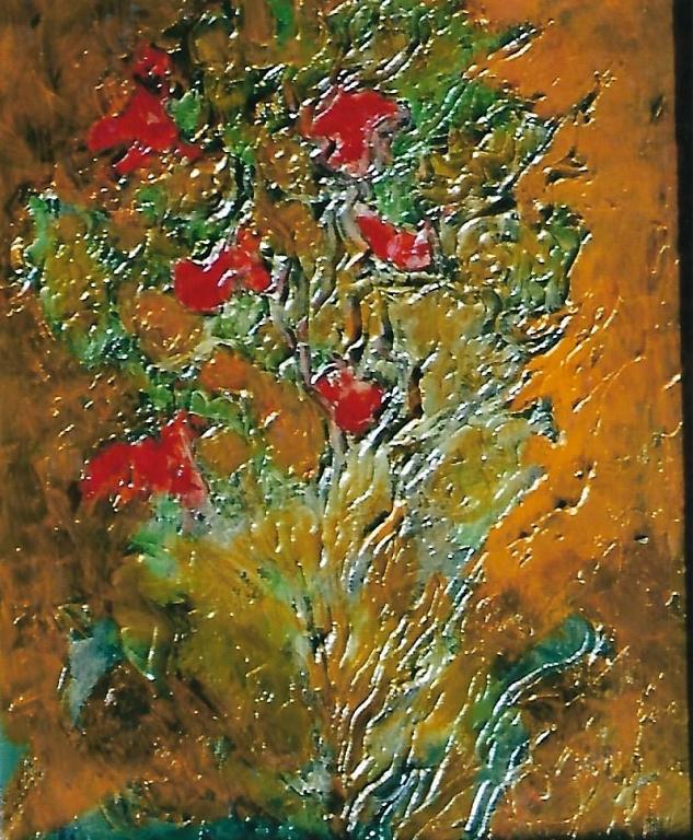 Fiori scarlatti - mario fanconi - Olio