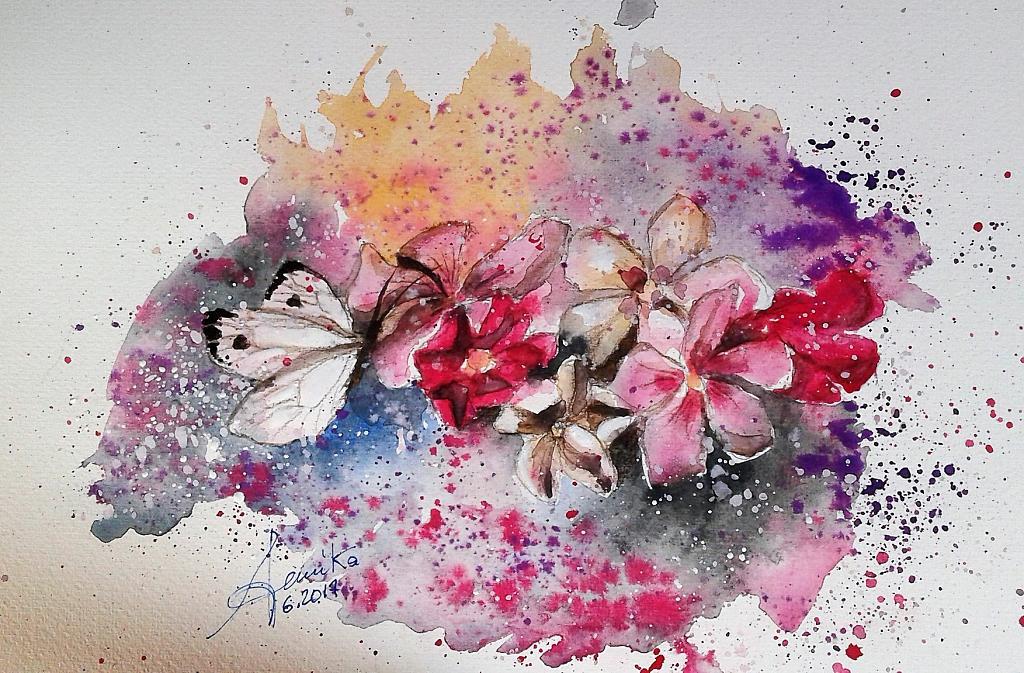 Tra i fiori dei miei oleandri - anna casu - Acquerello